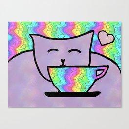 Magical Tea Party Cat Art Canvas Print