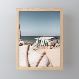 Surfboards, Moroccan Coastline, Pastel White Beach, Photo Art Print Framed Mini Art Print