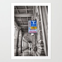 Black and White Street Photography in Bologna Blue Sign  Art Print
