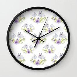 Purple lavender white bunny watercolor floral illustration Wall Clock