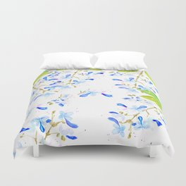 blue butterfly flowers arrangement watercolor Duvet Cover