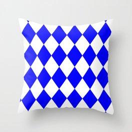 Rhombus (Blue/White) Throw Pillow