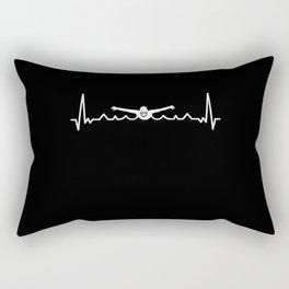 Swimming Heartbeat Gift for Swimmer Rectangular Pillow