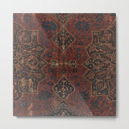 Boho Chic Dark VI // 17th Century Colorful Medallion Red Blue Green Brown Ornate Accent Rug Pattern Metal Print