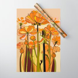 70s, Orange California poppies, mid century, 70s retro, flowers Wrapping Paper