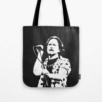 eddie vedder Tote Bags featuring eddie vedder by yahtz designs