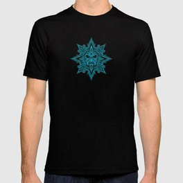Ancient Blue and Black Aztec Sun Mask T-shirt