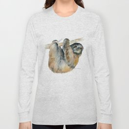Sloth Watercolor Painting Long Sleeve T-shirt
