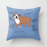 english bulldog Throw Pillows featuring Bulldog by Lindsay Beth