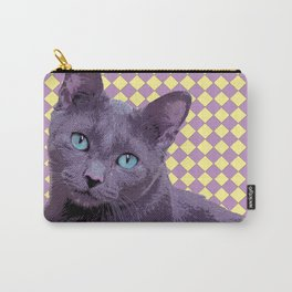 Checkerboard Cat Carry-All Pouch