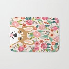 Welsh Corgi cute flowers spring summer garden dog portrait cute corgi puppy funny god illustrations Bath Mat