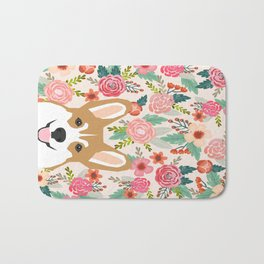 Welsh Corgi cute flowers spring summer garden dog portrait cute corgi puppy funny god illustrations Bath Mat