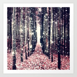 Magical Forest Millennial Pink Pewter Elegance Art Print