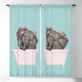 Baby Elephant in Bathtub Blackout Curtain