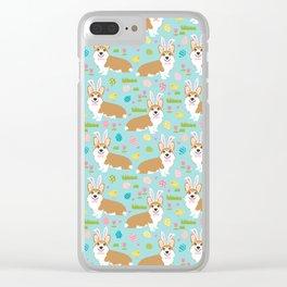 Corgis Easter - cute pastel spring corgi fabric Clear iPhone Case