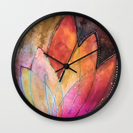 Lotus Dreaming in Colour and Dots Wall Clock