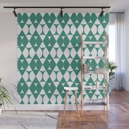 Classic Wheel and Diamond Futurist Pattern 220 Green Wall Mural