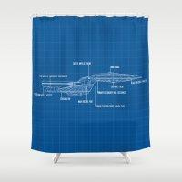 blueprint Shower Curtains featuring ENTERPRISE NCC-1701-D by badOdds