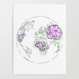 Antique World Map Pink Blue, The globe of the earth and flowers, home decor, Graphic-design Poster
