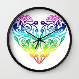 Floral Rainbow Heart  Wall Clock