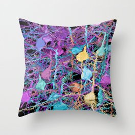 Cortical Brain Neurons by Kfay Throw Pillow