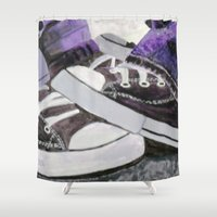 converse Shower Curtains featuring Converse by Leslie Creveling