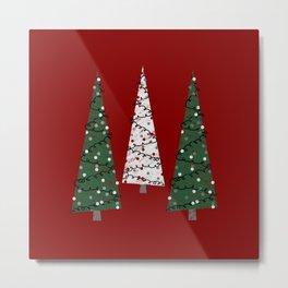 Folk Art Christmas Trees Red Green White Grey Gray Chalk shaded Metal Print