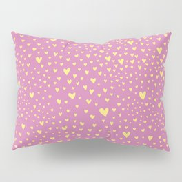Little yellow love hearts on sugar pink pattern Pillow Sham