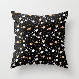 Night sky with gold silver stars Throw Pillow