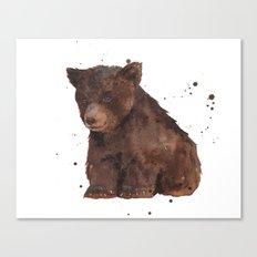 Cute Baby Bear, teddy bear, teddy, bear cub, brown bear, nursery art, woodland, bear painting Canvas Print