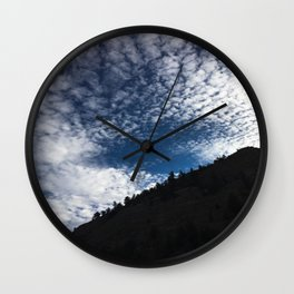 Colorado Mountainous Landscape With White Clouds In Blue Sky  Wall Clock