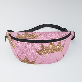 Pink Princess Pattern With Gold Sparkle Crowns Fanny Pack