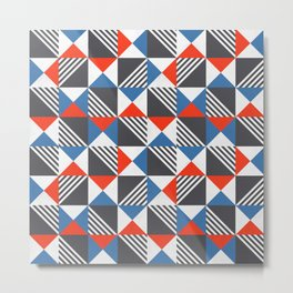 Geometric Triangle Lines Pattern Metal Print