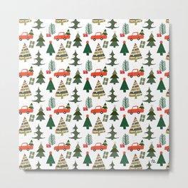 Christmas Tree / Truck / Vintage / Retro / Fir / Spruce / Winter Wonderland / Pine Tree Metal Print