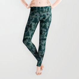 The Wild North, Wildlife, Blue Silhouette Forest and Animal Print Leggings