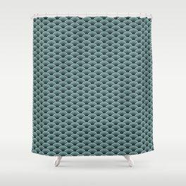 Deep Sea Green Blue Seigaiha Shower Curtain