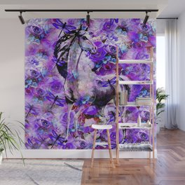 HORSE ROSES DRAGONFLY IMPRESSIONS Wall Mural