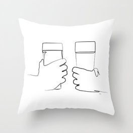 """"""" Kitchen Collection """" - Two Hands Holding Beer Glasses Throw Pillow"""