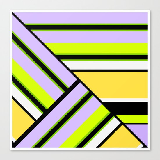 Striped , multi-colored , asymmetric combination pattern . Patchwork . Canvas Print