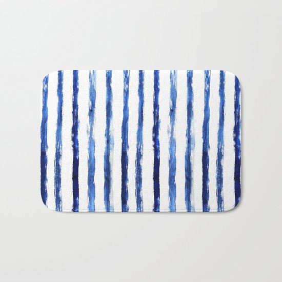 Blue painted stripes Bath Mat