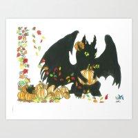 Toothless Pumpkin Patch Art Print