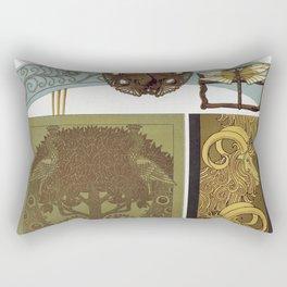 Libellules fer a dorer papillon paon hippocampes et libellule bijoux paons fer a dorer chevres bordu Rectangular Pillow