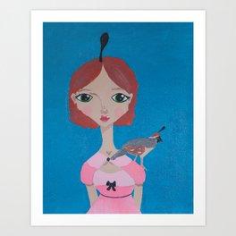 ~ Quail ~ 10 Year Old Amelia's Arizona Critter Girl Art Print
