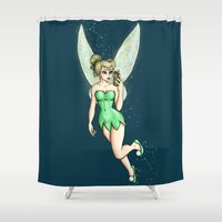 tinker bell Shower Curtains featuring Tinker Bell Selfie by Hungry Designs