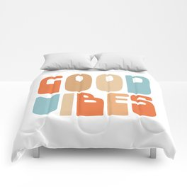 Good Vibes. Retro Lettering in Orange, Tan, and Light Blue on White. Spread Positivity Comforters