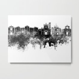 Prato skyline in black watercolor Metal Print
