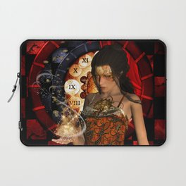 Steampunk lady with clocks and gears Laptop Sleeve