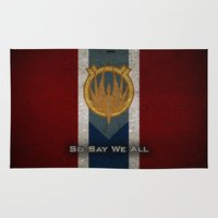 battlestar Area & Throw Rugs featuring The Banner of Caprica - So Say We All by Stuckey