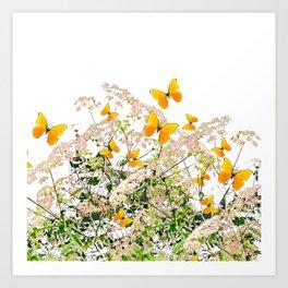 WHITE ART GARDEN ART OF YELLOW BUTTERFLIES Art Print
