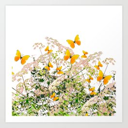 WHITE ART GARDEN ART OF YELLOW BUTTERFLIES Art Print